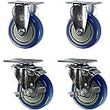 "4"" Casters - 2 Swivel w/ Brakes 2 Rigid - Blue Polyurethane Wheel- Non-marking Set of 4"