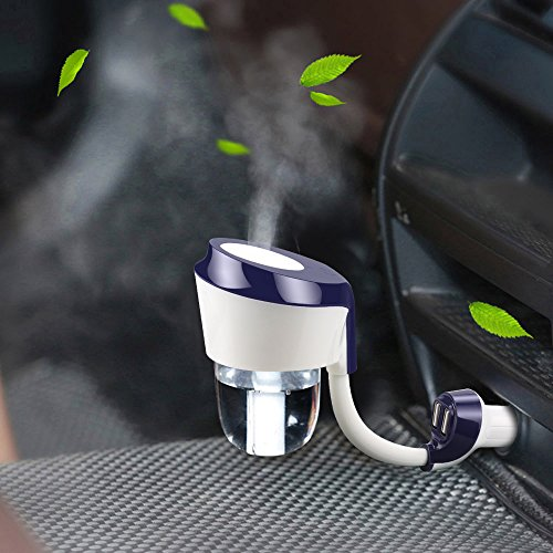 Topist Car Humidifier, Dual USB Charger Port Essential Oil Aroma Diffuser, Portable Ultrasonic Mini Cool Mist Aroma Humidifier with Car Charger Port for Car,50ml (Blue) (Portable Mini Aroma Diffuser compare prices)
