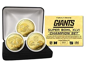 NFL New York Giants Super Bowl XLVI Champs Gold 3 Coin Set