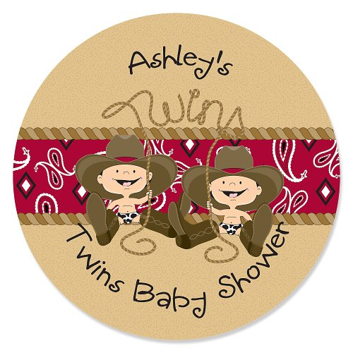 Twin Little Cowboys - Personalized Baby Shower Sticker Labels - 24 Ct front-707886