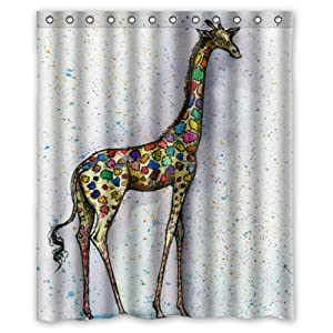 Eco Friendly Abstract Colorful Giraffe Art Printed Fabric Shower Curtain Polyester