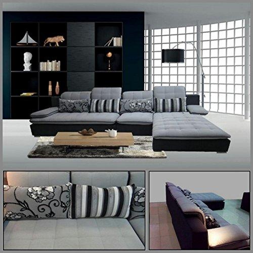 Divano soggiorno 300x180 angolare microfibra sfoderabile grigio chiaro divani