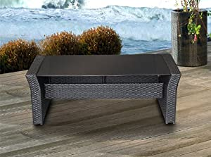 poly rattan lounge tisch mit glasplatte schwarz. Black Bedroom Furniture Sets. Home Design Ideas