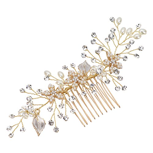 Remedios Vintage Flower and Leaf Inspiration Hair Comb Wedding Bridal Hair Accessory, Gold