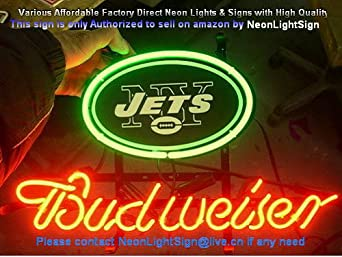 New NFL New York Jets Football Budweiser Bud Beer Bar Real Glass Real Neon Sign Glass Tube Light Christmas Gift