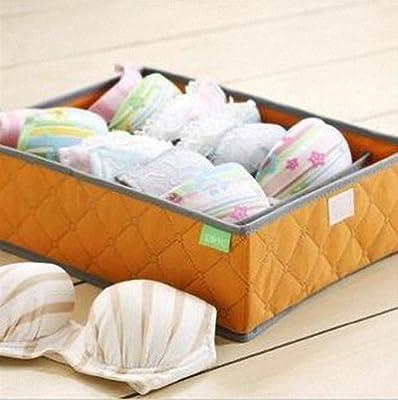 AwesomeMall 7 Cell Slots Panty Underwear Bras Drawer Closet Organizer Storage Box Case Orange