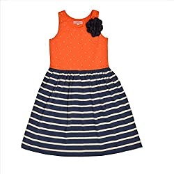CrayonFlakes Kids Wear for Girls 100% Cotton Knitted Sleeveless Orange Frock Polka Dots with Navy & White Stripes Dress