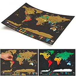 Sotijobs Deluxe Travel Scratch Off Map Personalized World Map Poster Personal Log