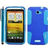 2 in 1 Hybrid Silicone Snap-on Case Cover Skin Protector for HTC One X - Matching Branded 4.5-Inch Universal Stylus Pen Included - With The Friendly Swede-Retail Packaging -Dark blue and Aqua blue