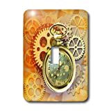 3dRose lsp_212827_1 a Steampunk Theme with Metal Cogs, Gears & a Lovely Golden Pocket Watch Single Toggle Switch