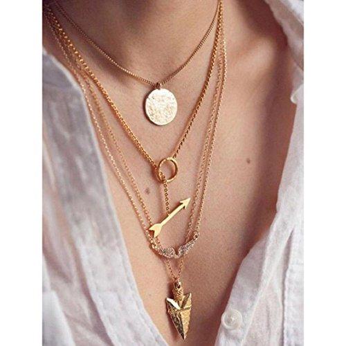 Sannysis® Donne multistrato irregolare pendente dell'oro di cristallo collana Chain Statement