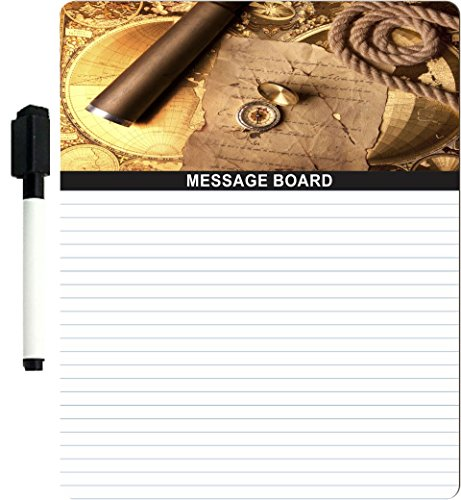 "Rikki Knighttm Vintage Navigation Compass Map And Telescope Design 8"" X 10"" X 1/8 Hardboard Dry Erase Message Board With Magnet Strips On Back (Black Marker Included)"