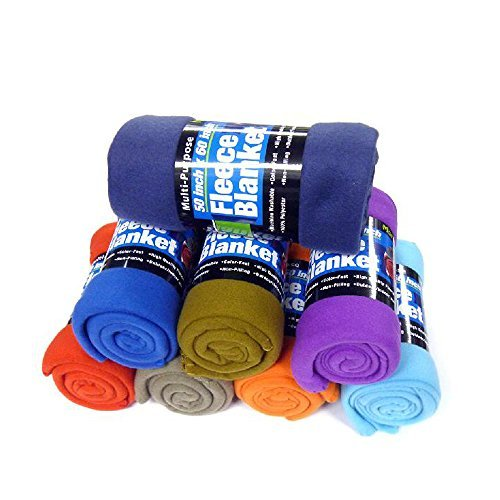 Lowest Prices! Fleece Throw Blanket - 50in, College Dorm Room Accessories, (Colors May Vary)