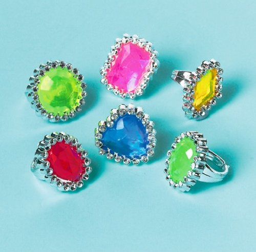 Party Favors 18/Pkg-Jewel Rings - 1