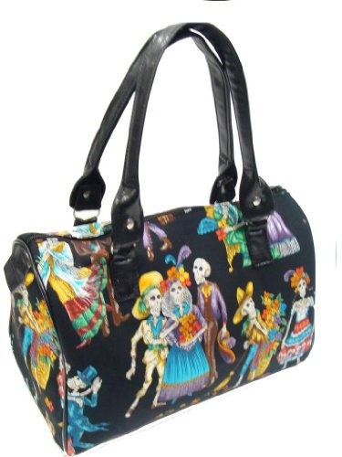 US Handmade Fashion sKulls in Party Day Of The Dead Rockabilly Halloween Gothic Doctor Bag Satchel Style Handbag Purse cotton fabric, DRB1018