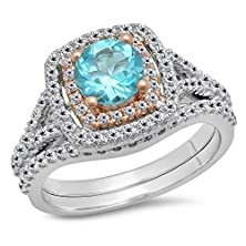 buy Two Tone Rose Gold Plated 14K White Gold Blue Topaz & White Diamond Halo Engagement Ring Set (Size 9.5)