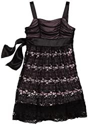 Ruby Rox Big Girls' Lace Dress With Contrast Color Lining