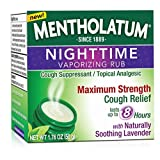 Mentholatum Nighttime Vaporizing Rub Maximum Strength Cough Relief with Naturally Soothing Lavender -1.76 Oz