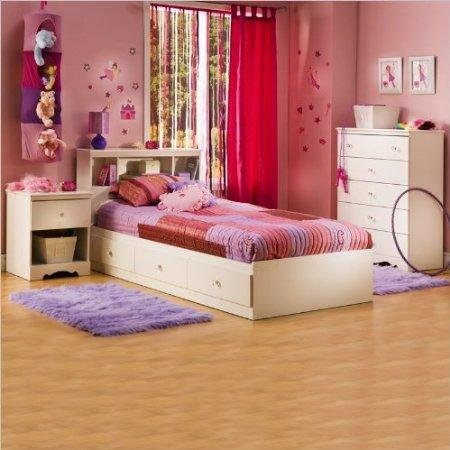 Cheap South Shore Crystal White Kids Twin Wood Captain's Storage Bed 3 Piece Bedroom Set (3550-PKG)