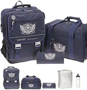 5 Teile SET: ELEPHANT SELECT Schulrucksack + Sporttasche + Mäppchen + Regenüberzug + Trinkflasche | KING LION - Blau