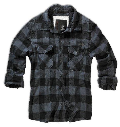 BRANDIT Check Shirt Flanell Hemd Black-Grey XXL