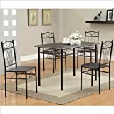 Coaster Home Furnishings 120573 5-Piece Casual Dining Room Set, Black/Black