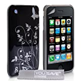 Stylish Butterfly Flower Hard Hybrid Case Cover For The Apple iPhone 3 / 3G / 3GS Black Silver With Screen Protector Film And Grey Micro-Fibre Polishing Clothby Yousave