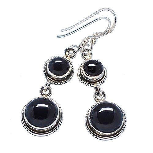 Ana Silver Co Black Onyx 925 Sterling Silver Earrings 1 3/4