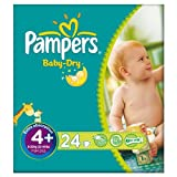 Pampers Baby Dry Size 4+ (9-20kg) Carry Pack Maxi Plus 6x24 per pack