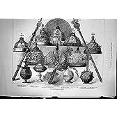 王位の象徴の王冠の皇帝のピーターロシア帝国胸の旧式な印刷物は盾 1883 を交差させます
