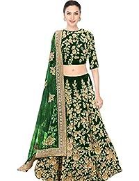 Designer Bollywood Style Gareen Velvet Embroidery Work Semi-Stitched Bridal Lahenga Choli