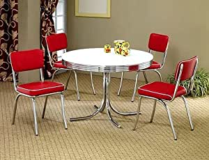 5pcs Retro White Round Dining Table 4 Red Chairs Set Table Chair Sets