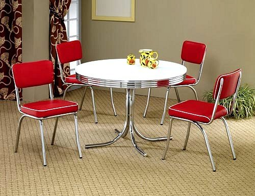 Retro White Round Dining Table