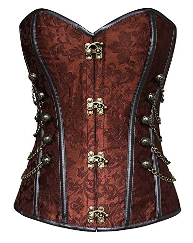 Charmian Women's Spiral Steel Boned Steampunk Gothic Bustier Corset with Chains Brown X-Large