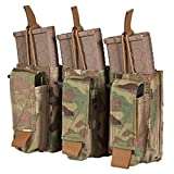 Chase Tactical Triple Kangaroo 5.56 Pistol Mag Pouch - Holds Three 5.56mm x 45 mm M4 Metal, Polymer Mags - Bungee Retention, Velcro Lid - for Military, Law Enforcement, Combat Training, Multicam (Color: Multicam, Tamaño: Triple)