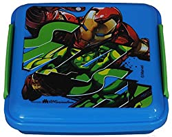 Marvel Avenger Plastic Lunch Box, 330ml, Blue/Green