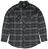 RUDE Black And Grey Plaid Woven Shirt With Metal Studs