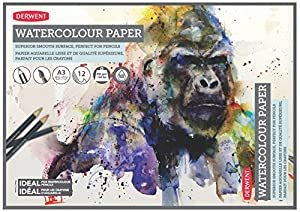 Derwent A3 Watercolour Paper Pad, 12 Sheets of White, Acid Free 300gsm Paper
