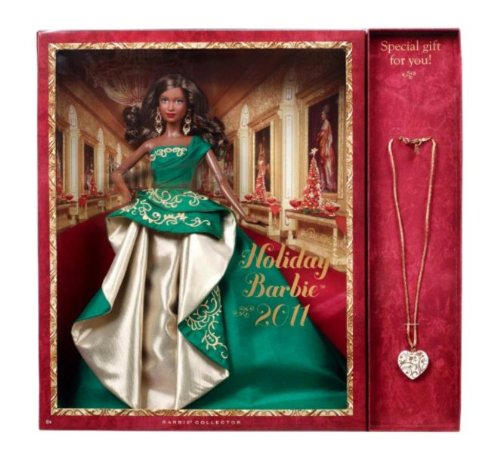 516pOX2ZAaL Cheap  Holiday Barbie 2011 African American with Free Gift Necklace
