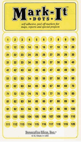 Numbered Yellow Map Sticker Dots 1 - 240