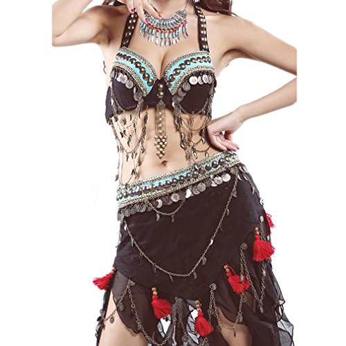 UPRIVER Belly Dance Costume Tribal Style Suit Dance Bra Free Size For 36 Black