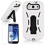 Pandamimi White and Black Armor 3 IN 1 High Impact Combo Kickstand Hybrid Case Hard Gel Cover with Stand