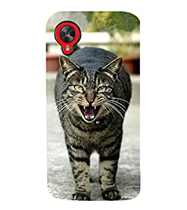growling Cat 3D Hard Polycarbonate Designer Back Case Cover for LG Nexus 5 :: LG Google Nexus 5