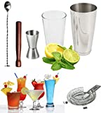 Vivo© Cocktail Set Boston Shaker Glass Twisted Bar Spoon Hawthorne Strainer Double Ended Measure Strainer Wood Muddler Muddling Thimble - App full of great cocktail recipes Link Included