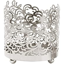 Hosley's 4.5 High, Lace Jar Candle Sleeve,Tea Light Lantern. Silver Finish. Ideal Gift ,Weddings, For Spa, Aromatherapy...