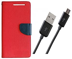 Novo Style Wallet Case Cover For Apple iPhone 6S Red + Mini USB LED Light Adjust Angle / bendable Portable Flexible USB Light