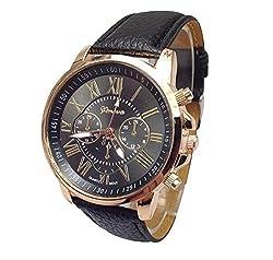 Roman XVI Geneva Fashion Leisure Dress Casual black pu faux leather Smart wrist watch + with extra cell