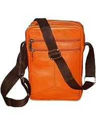 Style98 Tan Genuine Leather Travel Crossbody Sling Bag For Men,Boys,Girls & Women