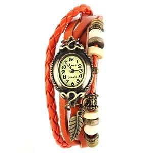 YESURPRISE Montre quartz Vintage Avec pendentif Feuille Knitted Bracelet en cuir Classique Bronze cadran 6 couleurs -Orange