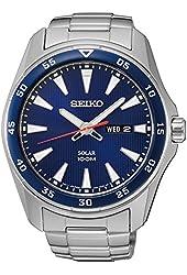 Seiko SNE391 Men's Core Silver Bracelet Band Blue Dial Watch